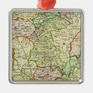 Religious map of France Silver-Colored Square Decoration