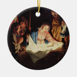 Religious nativity scene painting ornament