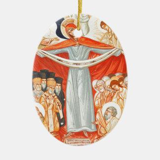 Religious painting ceramic oval decoration