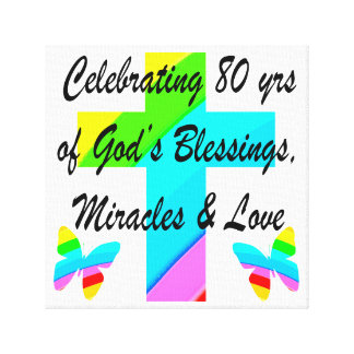 RELIGIOUS PERSONALIZED 80TH BIRTHDAY DESIGN CANVAS PRINTS