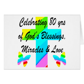 RELIGIOUS PERSONALIZED 80TH BIRTHDAY DESIGN CARD