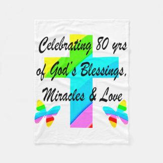 RELIGIOUS PERSONALIZED 80TH BIRTHDAY DESIGN FLEECE BLANKET