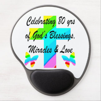 RELIGIOUS PERSONALIZED 80TH BIRTHDAY DESIGN GEL MOUSE PAD
