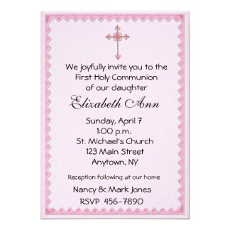 Religious Pink Cross 13 Cm X 18 Cm Invitation Card