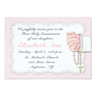 Religious Pink Rosary Beads Invitation