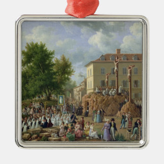 Religious Procession to Mont Valerien, 1819 Silver-Colored Square Decoration