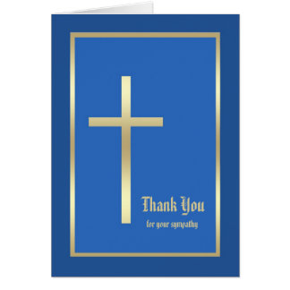 Religious Sympathy Thank You Note Card - Blue