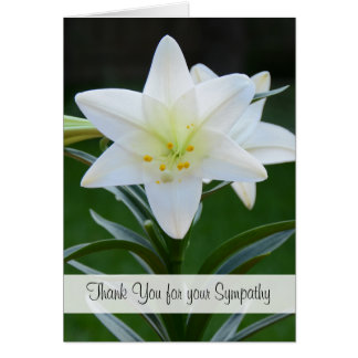 Religious Sympathy Thank You Note Card -- Lily