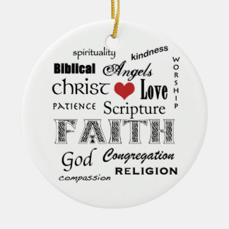 Religious Word Cloud+Blue Rippled Cross Christmas Ornament