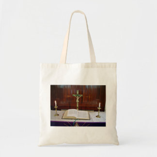Religous Altar with Bible, Cross and Candles Budget Tote Bag
