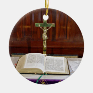 Religous Altar with Bible, Cross and Candles Christmas Ornament