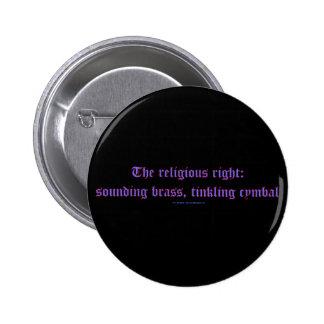 ReligRightBrassCymbal Pinback Buttons