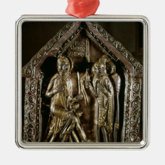 Reliquary chest of the sons of St. Sigismund Silver-Colored Square Decoration