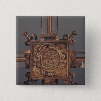 Reliquary cross, detail of a phoenix 15 cm square badge