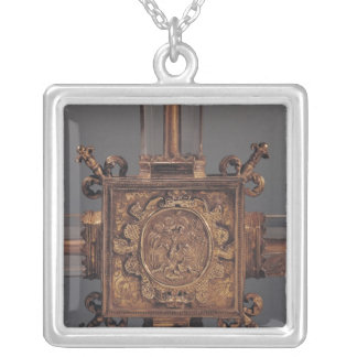 Reliquary cross, detail of a phoenix silver plated necklace