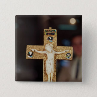Reliquary crucifix, ivory Christ on gold cross 15 Cm Square Badge