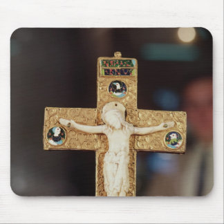 Reliquary crucifix, ivory Christ on gold cross Mouse Mat