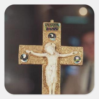 Reliquary crucifix ivory Christ on gold cross Sticker