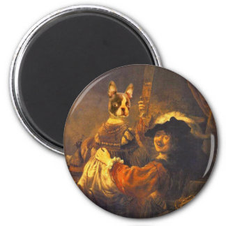 Rem Brandt with Bosti on the lap 6 Cm Round Magnet