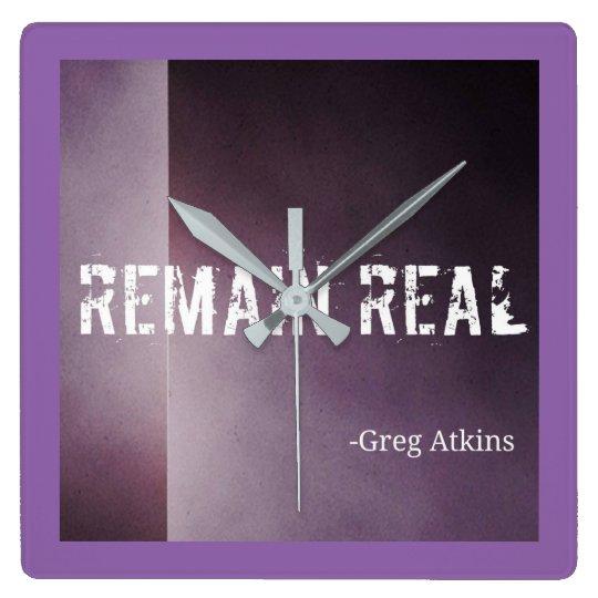 Remain Real Purple Clock- Greg Atkins Square Wall