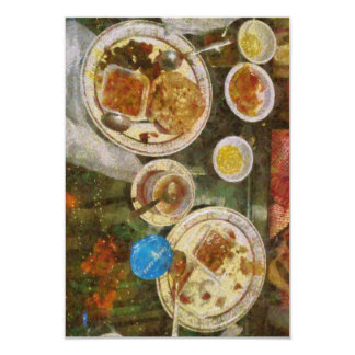 Remains of a meal 9 cm x 13 cm invitation card