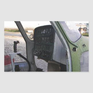 Remains of cold war helicopter. rectangular sticker