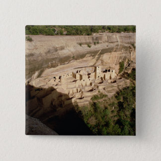 Remains of Pueblo Indian cliff dwellings 15 Cm Square Badge