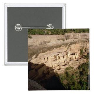 Remains of Pueblo Indian cliff dwellings 15 Cm Square Badge