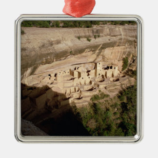Remains of Pueblo Indian cliff dwellings Silver-Colored Square Decoration