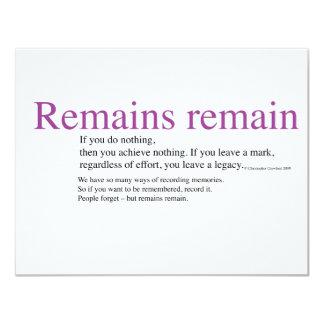 Remains remain 11 cm x 14 cm invitation card