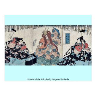 Remake of the Noh play by Utagawa,Kunisada Postcard