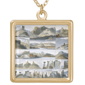Remarkable Hills on the Upper Missouri, plate 35 f Gold Plated Necklace