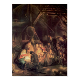 Rembrandt- Adoration of the Shepherds Postcard