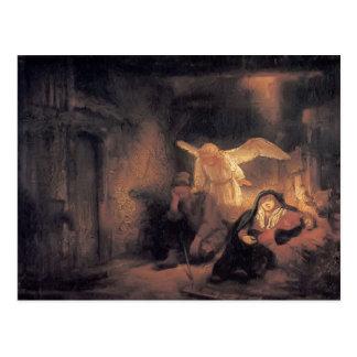Rembrandt- Joseph's Dream in Stable in Bethlehem Postcard