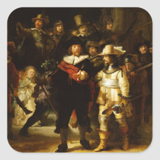 Rembrandt Nightwatch Night Watch Baroque Painting Square Stickers