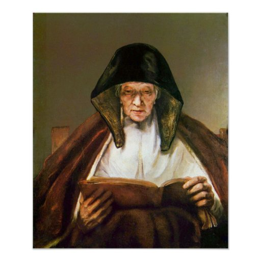 Rembrandt - Old woman reading Poster