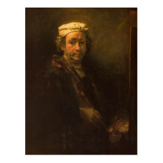 Rembrandt- Portrait of the Artist at His Easel Postcard