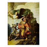 Rembrandt - Prophet Balaam and the donkey Poster