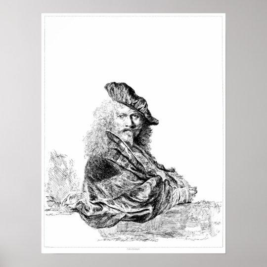 Rembrandt Self Portrait Etching Poster