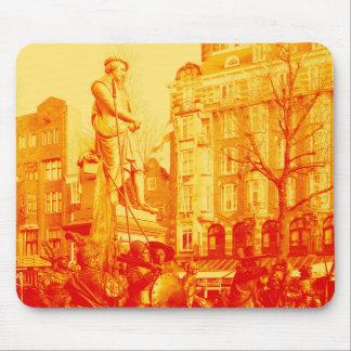 rembrandt statue amsterdam digital photo mouse mat