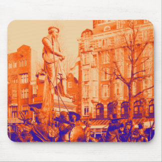 rembrandt statue amsterdam digital photo mouse mat