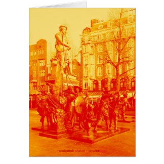 rembrandt statue amsterdam digital photo orange card
