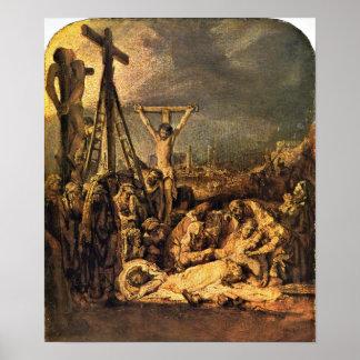 Rembrandt van Rijn - The Raising of the Cross Poster