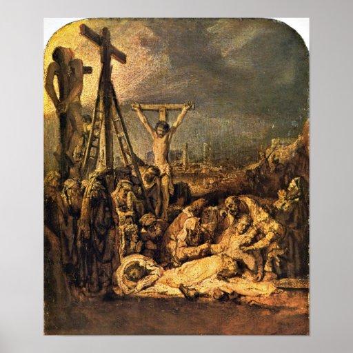 Rembrandt van Rijn - The Raising of the Cross Posters