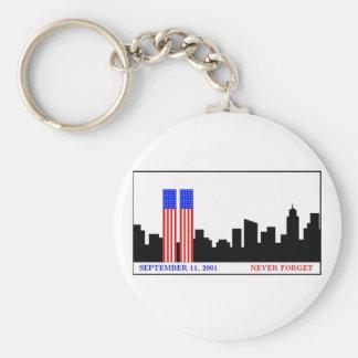 Remember 9-11-01 basic round button key ring
