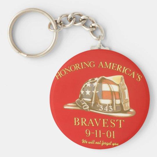 Remember 9-11 basic round button key ring