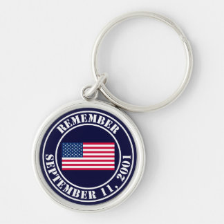 Remember 9/11 Silver-Colored round key ring