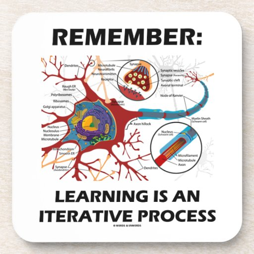 Remember: Learning Is An Iterative Process Synapse Beverage Coaster