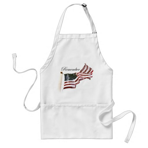 Remember  Memorial Day - Crosses Within Old Glory Apron