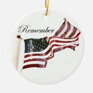 Remember  Memorial Day - Crosses Within Old Glory Round Ceramic Decoration